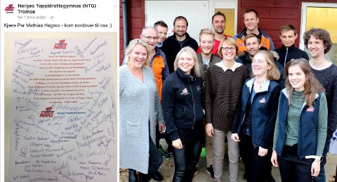 VELKOMMEN PER: Hanne Luther (foran til venstre) og de andre lærerne på NTG i Tromsø håper Håper Per Mathias Høgmo skal bli smigret og lå til på det poetiske jobbtilbudet. Foto: Anders Mo Hansen