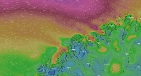 VIND: Det vil bli kraftig vind fra midnatt og utover mandag formiddag.