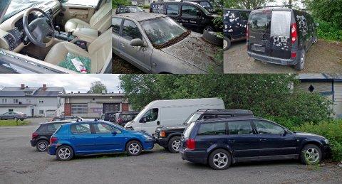 Det sto hele 10 uskiltede biler bak Essoen i Hunndalen - og flere i dårlig forfatning Foto: Philippe Bédos Ulvin