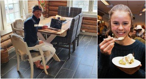 MORSOM OVERRASKELSE: Via Facetime fikk Anita Moen (t.v.) overrakt et stipend på 10.000 kroner som skal brukes spesifikt på treningstimer med Egil Kristiansen for Marte Carlson Møller (t.h.).