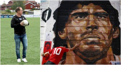FORBILDE: Elverumsingen Anders Bronken har hatt Diego Maradona som sitt store forbilde i mange år. Budskapet om hans død onsdag mottok han med sorg.