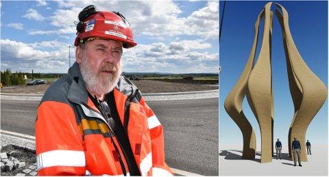 BLE INSPIRERT: Den 14 meter høye limtreskulpturen er tegnet av Vegvesenets byggeleder Terje Halbakken, opprinnelig fra Sørskogbygda, nå bosatt i Løten.