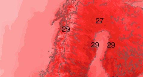 Det er meldt nærmere 30 grader enkelte steder i Salten og Helgeland på lørdag.