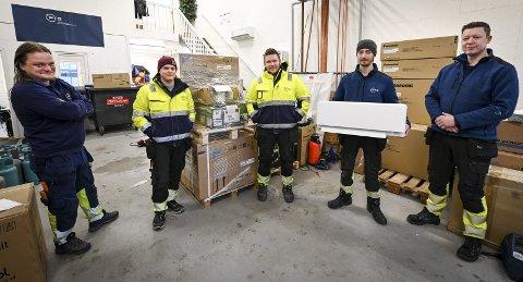 I vekst: – Et av målene er å selge enda flere varmepumper til private og næringsliv. I fjor solgte vi et sted mellom 500 og 600 varmepumper, forteller f.v. Asbjørn Lauvdahl (39), Per Morten Johansen (24), Kristoffer Guttormsen (32), Rudi Myrheim (25) og Jørn Eirik Bjørnø (41).