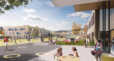 En jury kåret L2-arkitekter og deres forslag med navnet Superparken som vinnere av plan- og designkonkurransen for skoleutbygging på Tau. (Illustrasjon: L2-arkitekter)
