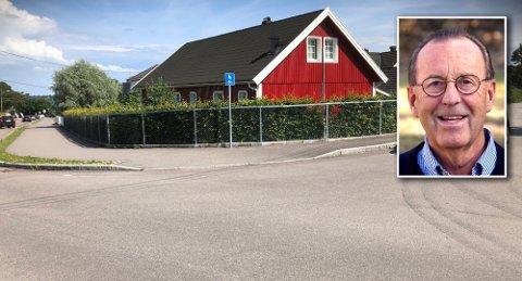 HER: Det var her Vidar Lunde sto da elsparkesyklisten suste fryktløs forbi. Foto: Privat
