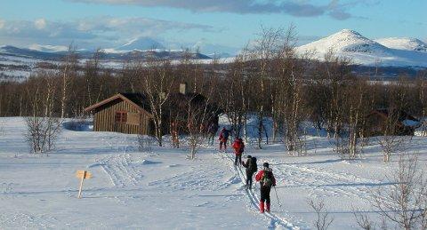 Skriurusten: Framme ved sjølvbetjeningshytta som DNT har inne i Langsua nasjonalpark, aust og nord for Skaget. På vanleg føre er det 3 - 4 timar gangtid  inn hit frå Selstølhøgda innafor Yddin. Bak t.v. ruver Storhøpiggen.