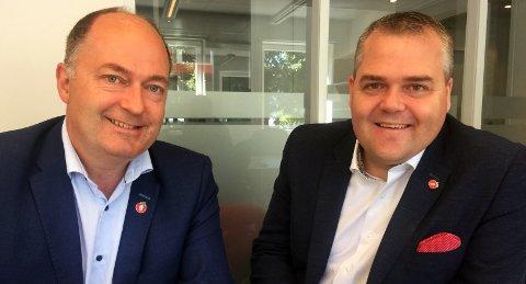 NESTE ÅR?: Stortingsrepresentantene for Frp, Morten Stordalen, Vestfold (t.v.), og Roy Steffensen, Rogaland, håper avgiftsendringen kan implementeres i statsbudsjettet for 2018.
