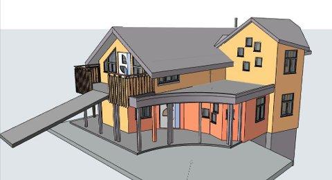 Slik vil den nye Steinerbarnehagen på Oksval framstå når den forhåpentligvis står ferdig til barnehagestart. Illustrasjon: Abel Arkitekter/InSpiris.