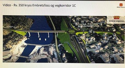 EMBRETSFOSS: Slik ser Statens vegvesen for seg ny avkjøring til Fv. 287 fra Rv. 350 ved Embretsfoss i Åmot. Modum kommune ønsker å trekke avkjøringen enda lenger nord.