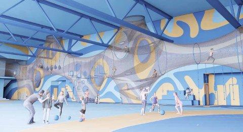 Slik ser arkitektene for seg at veggen i den planlagte Trosvikhallen kan brukes til lek og bevegelse – samtidig som det trenes nede på banen.