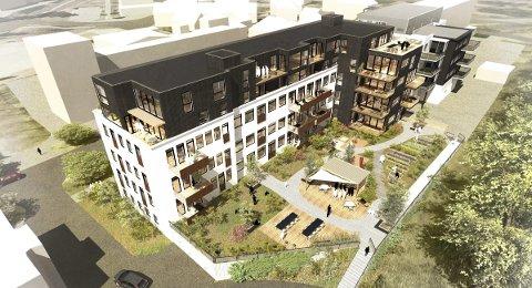 OS ALLÉ 9: Her kommer det nye luksusleiligheter. Det gleder også naboene, men beboerne i bygningen øverst til høyre på bildet reagerer på bygningens høyde, fargevalg og byggelinja mot Os kirkegård. Illustrasjon: SG Arkitekter