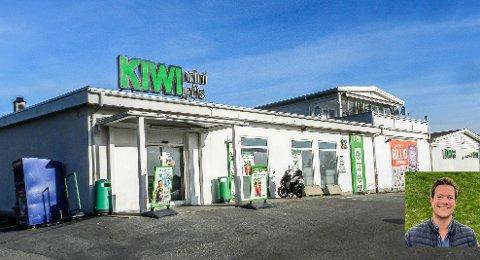 PLANER: Styreleder Thor Fredrik Skar Larsen i Skar Eiendom ønsker å utvide Kiwi på Brødløs og bygge leiligheter i tillegg. Montasje.