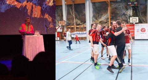 Ikke i 2020: Både humorgalla og romjulscup er avlyst. Her fra 2019, til venstre komiker Morten Ramm på scenen i Odda kino.