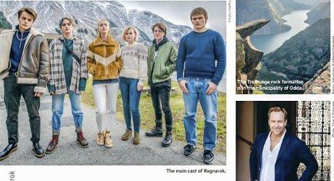 Fire sider: Både Odda og Netflix-serien Ragnarok er tilgodesett med en fyldig omtale i februar-utgaven av Scandinavian Traveler. Skjermdunp: SAS