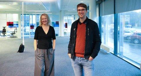 FORBEREDER SEG: Fagansvarlig for service, Christian Våge, og HR-sjef Carina Ringen i ScaleAQ ser fram til å flytte inn i de nye lokalene sentralt i Haugesund.