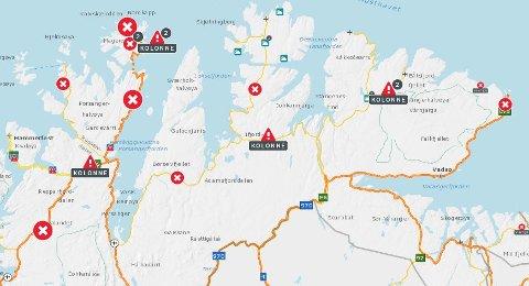 OBS!: Slik ser Statens Vegvesens kart over Finnmark ut torsdag ettermiddag. Skjermdump: Vegvesen.no