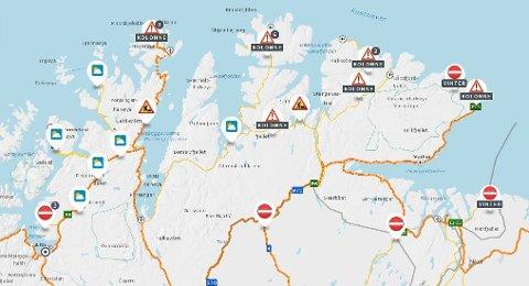 STENGT: Fredag formiddag er en rekke veier stengt og kolonnekjørt per klokka 10:00 fredag.