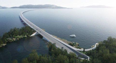 FERJEFRITT: Slik kan den nye brua over Bjørnafjorden koma til å sjå ut. (Illustrasjon: Statens vegvesen/AMCDissing og Weitling)