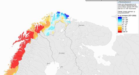 TØRT: Januar har vært en meget tørr måned i store deler av Nord-Norge. Men det ble likevel bare satt én vær-rekord.