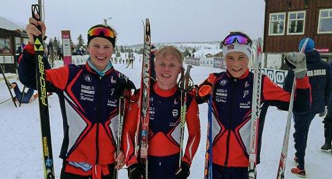 Jacob Lundby (f.v.), Lars Fauchald og Håvard Tosterud vant hver sin klasse i Snauhaugsprinten.