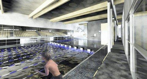 Idrettsrådets forslag: Slik ser skissen idrettsrådet har utarbeidet for svømmeanlegg på Gystadmarka ut. Idrettsrådet kaller det en kompakt og økonomisk løsning med synergieffekter nær de andre idrettsanleggene på Jessheim.Skisse: Ullensaker Idrettsråd