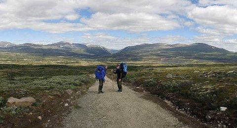 Tomas Fjeldvang (28) og Robert Vangen (25) går sammen med Truls Fjeldvang (24) til fots fra Oslo til Trondheim. Her er de på vei over Dovrefjellet.