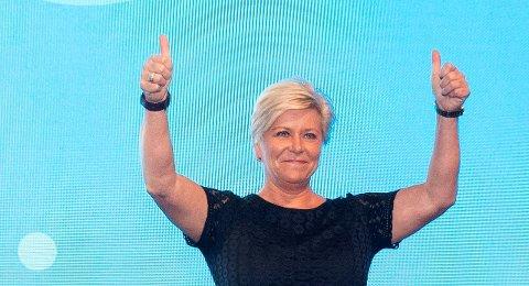 Gardermoen, NORGE 20201017.  Partileder Siv Jensen etter talen under Fremskrittspartiets landsmøte på Gardermoen. Foto: Berit Roald / NTB