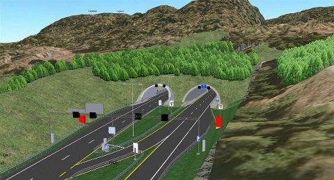NY PORTAL: Slik planlegges den nye portalen til Oslofjordtunnelen fra Hurumlandet i retning Drøbak og Frogn kommune. (Illustrasjon: Statens vegvesen)