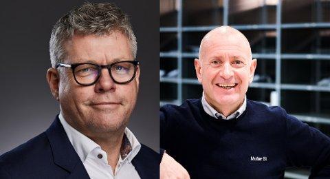 Sverre Helno, administrerende direktør for Møller Bil (tv) og Jan Olav Fikstvedt, daglig leder i Møller Bil Sør-Rogaland.