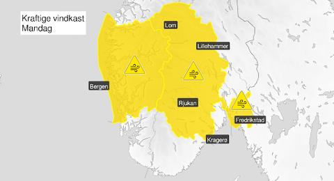 FAREVARSEL: Det er venta sterke vindkast i Vestland fylke utover ettermiddagen denne måndagen.