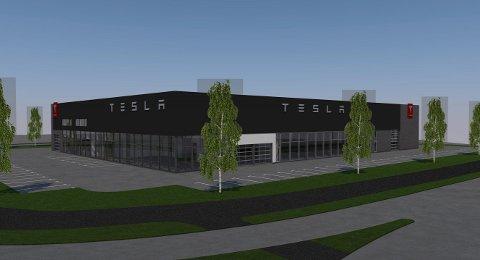 BETYDELIG STØRRELSE: Slik planlegger Tesla at det nye anlegget skal se ut. Illustrasjon: Enger Utvikling AS.