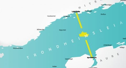 Det planlagte fergesambandet mellom Kjørsvikbugen i Aure og Laksåvika på Hitra.