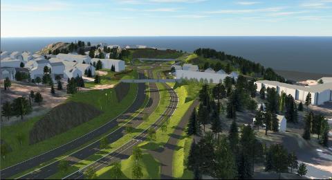 Statens vegvesen foreslår å lage en skjæring gjennom Kråkhaugen der veisystemet med smal firefelts vei legges i dagen i stedet for i tunnel.
