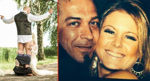 ÅRETS FREKKESTE? Bryllupsbilder er vanligvis ganske kjedelige greier. Men ikke det Linda og Raymond Larsen fikk på bryllupsdagen.
