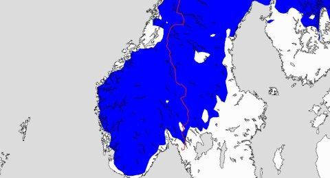 KALDT! Bildet viser hvilke deler avSør-Norge som kan få nattefrost natt til søndag.