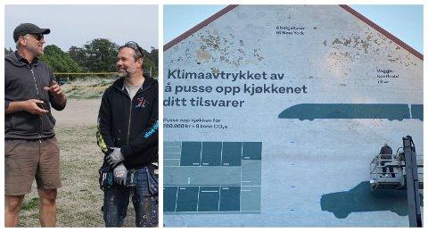 Thomas Horne (til venstre) og Eivind Stoud Platou har designet og malt opp denne fasaden i Håkon Gamles Gate for å vise hvordan vårt dagligdagse forbruk påvirker klimaet. Det mener flere er unødvendig sløsing.