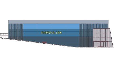 Moderne: Hallen skal settes opp der den gamle låven står nå.  Dette er en stålhall, men med tre ulike blåfarger, og det som fremstår som grått på tegningen er utenpåmontert treverk. Tegning: Morten Lunøe ved Arkitekthuset i Kragerø