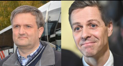 100 mill:  Helge Kvame (t.v.) i JVB er glad for samferdselsminister Knut Arild Hareides forslag om å gi 100 millioner kroner til kommersielle buss- og båtruter.