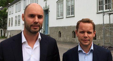 KAN HAVNE I RETTEN: - Ingen tvil om at vi inngikk avtale om at Kodial Eiendom skulle kjøpe eiendomsmasse av oss for 64 millioner kroner, sier Odd Anders Wilhelmsen (t.h.). Her sammen med partner Glenn Braaten. Striden kan ende i retten.