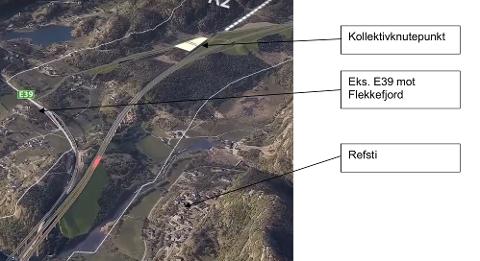BIRKELAND: Kryss Birkeland sett mot vest i alternativet til Statens vegveen som nå er på høring. (Nye Veier har et annet forslag om kryss ved Frøytland som ennå ikke er detaljert beskrevet. ) Fylkesrådmannen mener at krysset i Flekkefjord eller Kvinesdal også bør ha rasteplass og veiserviceanlegg.