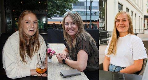 ALKOHOL: Permanent skjenkestopp klokken 00.30, eller ikke? Meningene er iallefall delte for Vilde Emilie Ingvaldsen, (f.v.) Marian Haugen og Lena Aspebakken.