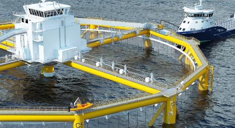 Ocean Farm blir verdas første havbaserte oppdrettsmerd for laks. Den byggar på dei samme grunnlegjande eigenskapar som halvt nedsenkbare installasjonar offshore.