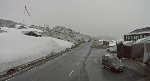 STENGT: Det er uvanleg at fjellovergangar må stenge sommarstid, men i går skjedde det. Her frå fv. 55 over Sognefjellet