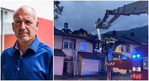 BRANN PÅ VIE: I natt brann det i eit rekkehus på Vie. Fungerande kommunedirektør Jan Birger Moe seier til Firda at dei prøver å få oversikt over situasjonen.