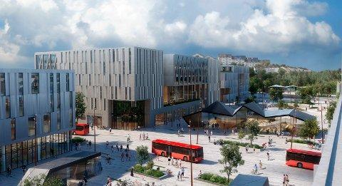 Ett av tre utkast til nye Grønli stasjon. Rådet er at området må få en miks av næring og boliger. Butikker, kafeer og andre sørvistilbud på gateplan.  Illustrasjon: Dyrvik arkitekter, SLA, Norsam og Sweco,«Grønlikilen»