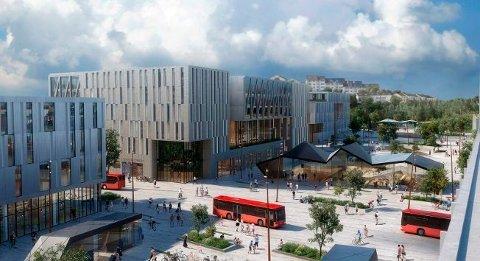 Ny Grønli stasjon er svært viktig for byutviklingen. Dette er ett av innspillene til utvikling av stasjonsområdet. (Illustrasjon: Dyrvik arkitekter, SLA, Norsam og Sweco,«Grønlikilen»)
