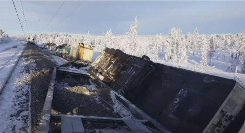 SPORET AV: Toget sporet av tidlig onsdag morgen utenfor Gällivare. Foto: Skjermbilde/SVT