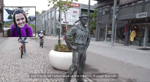 GOD MARKEDSFØRING: Promoteringsvideoen av Horten har blitt ut lagt på Visit Norway sin Facebook-side, som har over 1,1 millioner følgere fra hele verden. Aina Tufte (innfelt) har fortellerstemmen i videoen, og er veldig fornøyd med prosjektet som setter Horten på kartet.