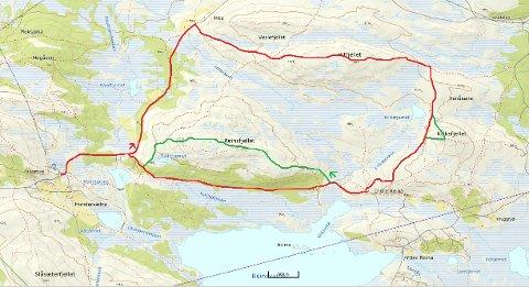 FAVORITTEN: Runden fra Pellestova om Hitfjellet, via Hitvegen og Pellevegen. Det grønne viser muligheten for å utvide turen med stiene over Kriksfjellet og Reinsfjellet.